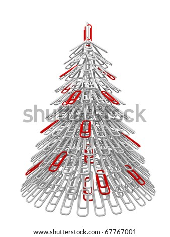 The white and red Christmas tree maiden with office fastener - stock photo