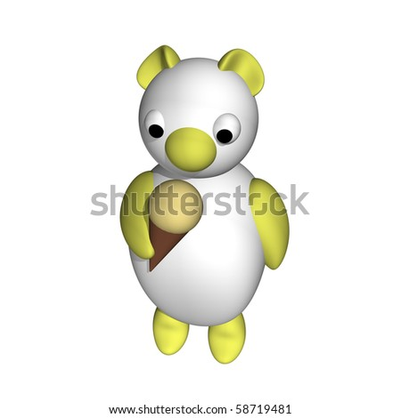 The white bear cub eats ice-cream, 3d, a white background.