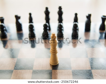 The white chess standing in front of black chess means Courage, Shallow in depth of field