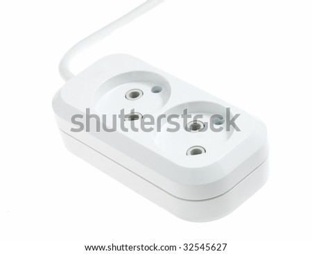 The white double electric socket on a wire is isolated - stock photo