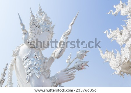 The white god pay respect at Wat rongkhun in Thailand - stock photo