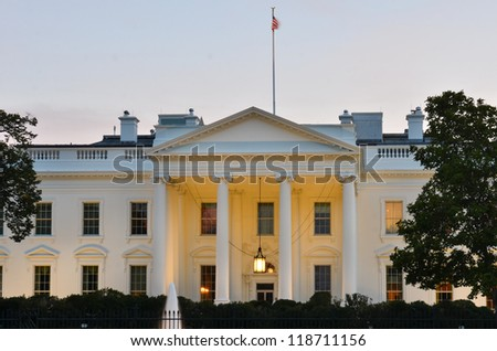 The White House at night - Washington DC, United States - stock photo