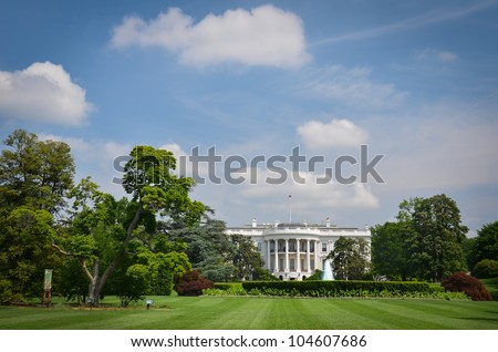 The White House in a cloudy day - Washington DC, United States - stock photo