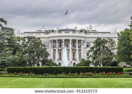 The White House in Washington D.C. at a cloudy day, Executive Office of the President of the United States - stock photo