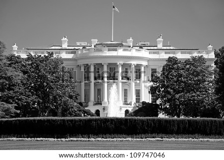 The White House in Washington DC in black and white - stock photo