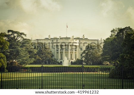 The White House in Washington DC on a spring day with vintage processing - stock photo