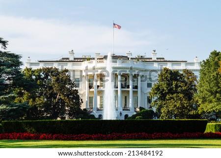 The White House, South Lawn view, Washington DC, USA. - stock photo