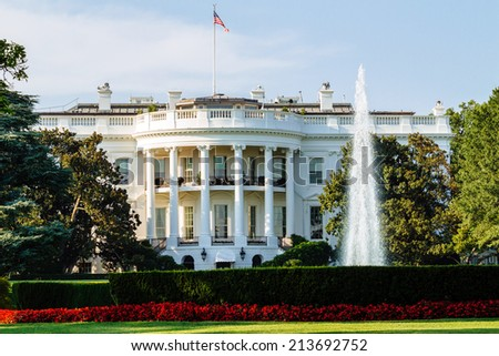 The White House, South Lawn view, Washington DC, USA. - stock photo