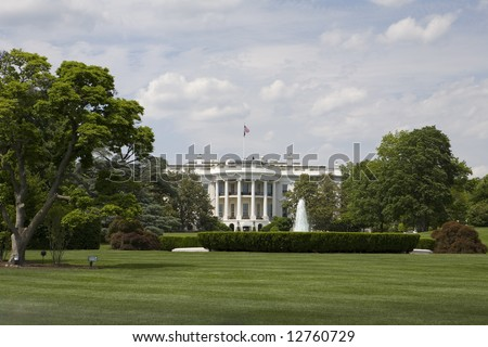 The white house with beautiful landscaping