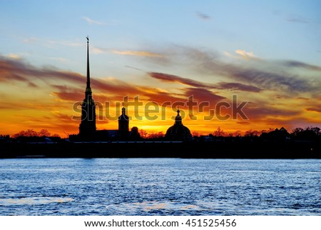 The White Nights of Saint Petersburg, Russia. The silhouette of Peter-and-Paul's Cathedral in Peter and Paul Fortress
