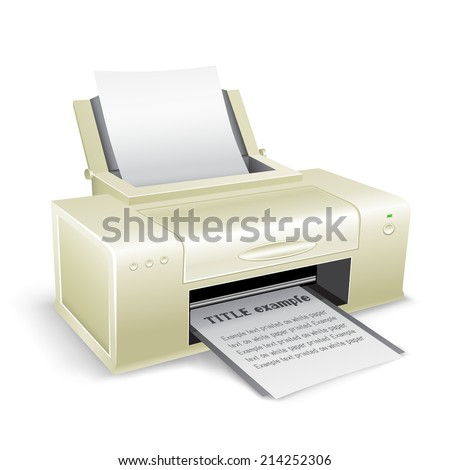 The white printer on the white background - stock photo