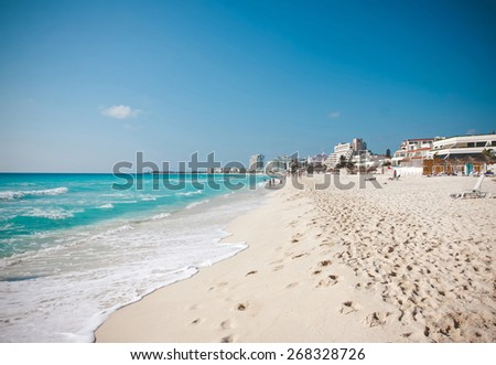 The white sand beach of Caribbean sea in Cancun Mexico - stock photo