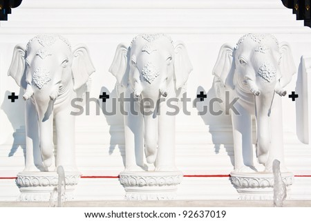 The white stucco elephant sculpture. This is the art of Thailand. Located at the entrance of the World Horticultural Expo.Royal flora Ratchaphruek 2011,Chaingmai,Thailand. - stock photo