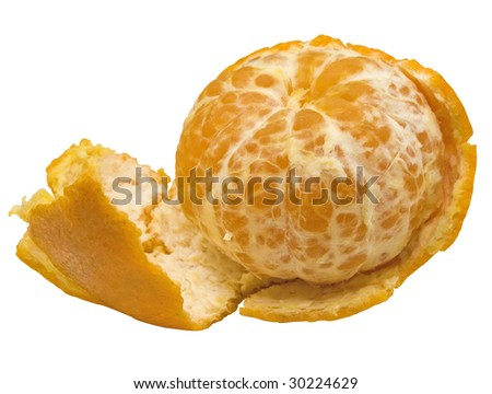 The whole ripe cleared tangerine with a peel - stock photo