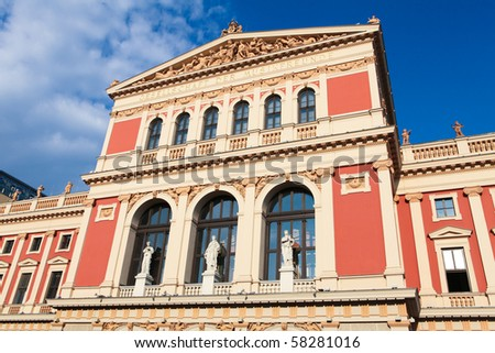 "The Wiener Musikverein (English: ""Viennese Music Association"") is a famous Vienna concert hall. It was built in 1870. - stock photo"