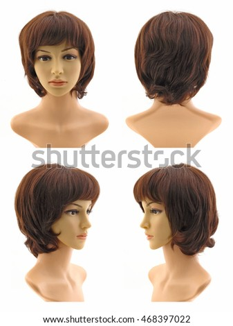 The wig on the mannequin head female