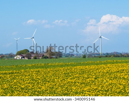 The wind generators on the blossoming fields in south Sweden - stock photo