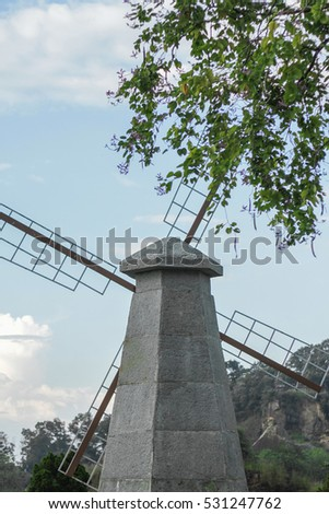 The windmill farm in garden(Buu Long - Dong Nai - Viet Nam)