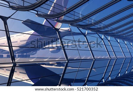 The window at the airport.,3d render