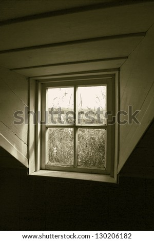 The window in the ancient icelandic house (stylized retro)