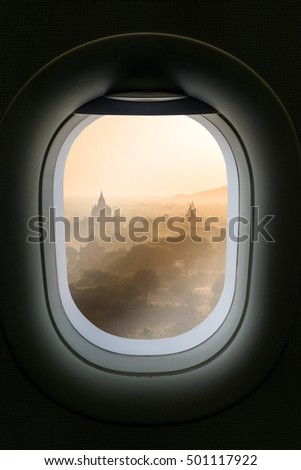 The window of airplane with travel destination attraction. Myanmar attraction.