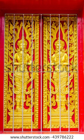 The window Thailand temle - stock photo