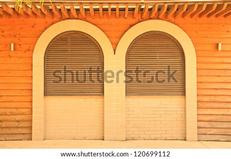 The windows and wood background - stock photo