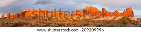 The Windows area in Arches National Park, Utah.  - stock photo