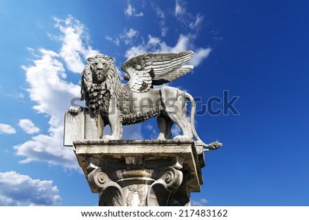 The winged lion of St Mark, symbol of the Venetian Republic, in Piazza delle Erbe, Verona (UNESCO world heritage site), Veneto, Italy  - stock photo