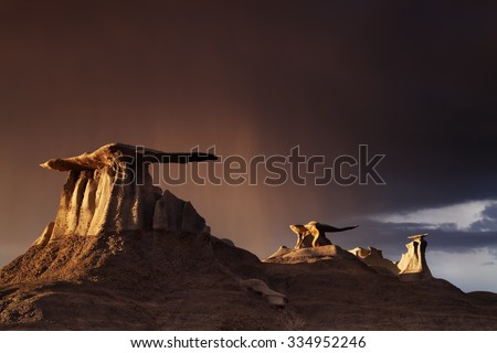 The Wings, bizarre rock formations in Bisti Badlands, New Mexico, USA - stock photo