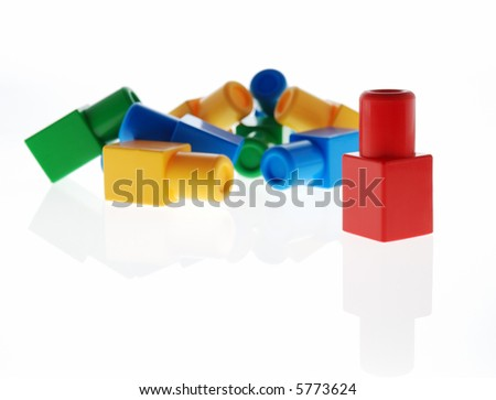 The winner. A metaphor on a subject of the winner , it is expressed by children's toys - stock photo