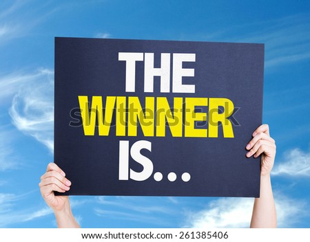 The Winner Is... card with sky background - stock photo