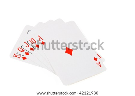The winning hand isolated on white - stock photo