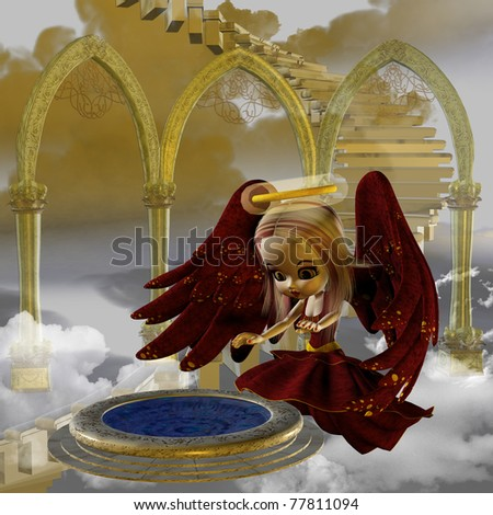 the Winter Angel - cute little winter angel in the clouds gazing over a magic pond - stock photo