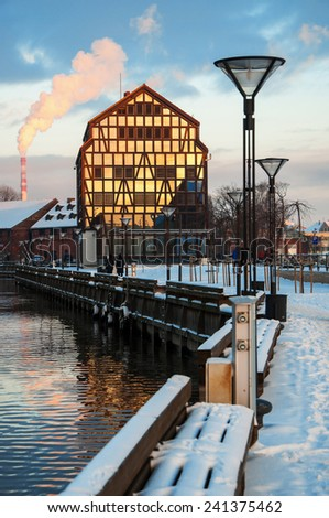 The winter city scape of the city of Klaipeda, Lithuania - stock photo