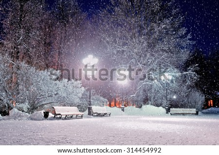 The winter evening landscape with falling snow - soft focus processing - stock photo
