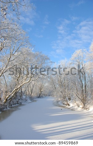 The winter river in a strong frost - stock photo
