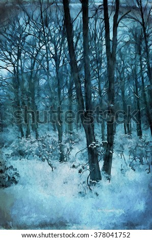 The wintry woods of Pennsylvania transformed into a colorful teal toned painting - stock photo