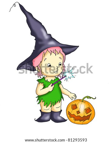 the witch with the pumpkin