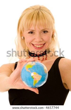 The woman and globe on a white background