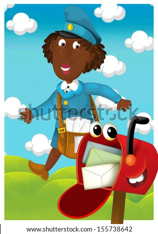 The woman delivering mail - illustration for the children