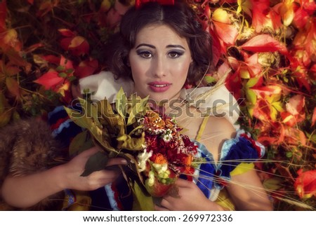 The woman from the fairy tale about the Snow White - stock photo