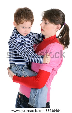 The woman holds the angry little boy. Isolated over white - stock photo