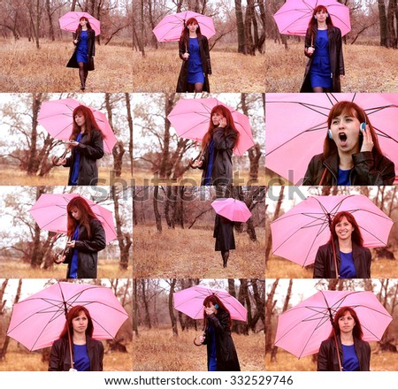 The woman in a black raincoat goes on the road in the rain. The woman holds a pink umbrella in hand and speaks by phone. - stock photo