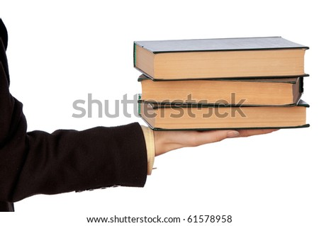 The woman in a business suit, shows old business books for notes - stock photo