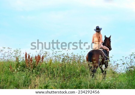 The woman on a horse in field - stock photo