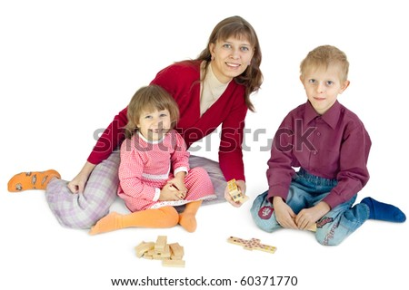 The woman plays with children - stock photo