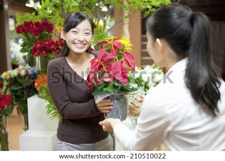 The Woman Receiving The Poinsettia