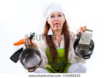 the woman tired of work in kitchen and cooking - stock photo