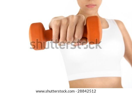 The woman trains muscles of the hands, isolated - stock photo